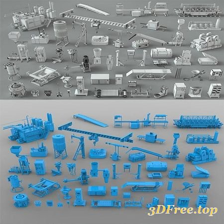 FACTORY UNITS-PART-3 - 49 PIECES 3D MODEL