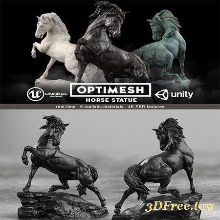 HORSE STATUE - 3D PBR MODEL LOW-POLY 3D MODEL