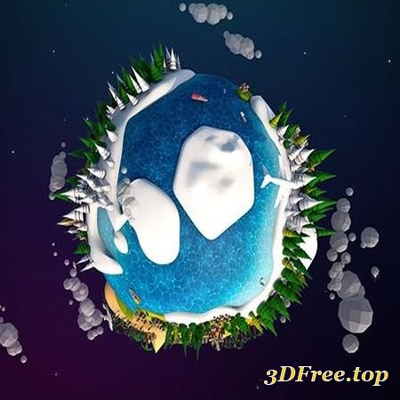 CARTOON LOWPOLY EARTH PLANET 2 LOW-POLY 3D MODEL