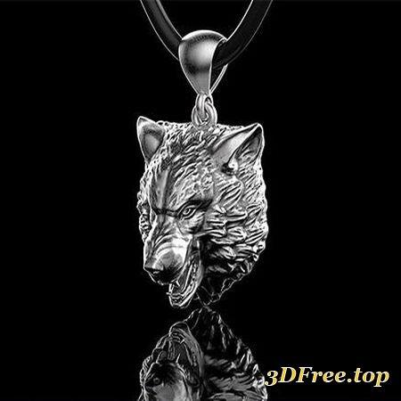 PENDANT WOLF HEAD 0190 3D PRINT MODEL