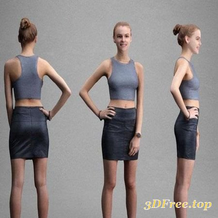 SMILING GIRL IN LEATHER SKIRT – SCANNED 3D MODEL (3DMax)