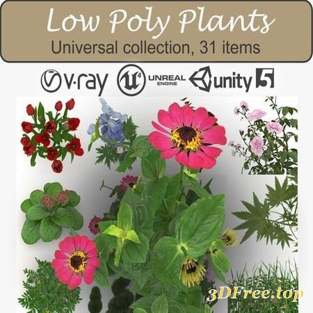 LOW POLY PLANTS LOW-POLY 3D MODEL (3DMax)