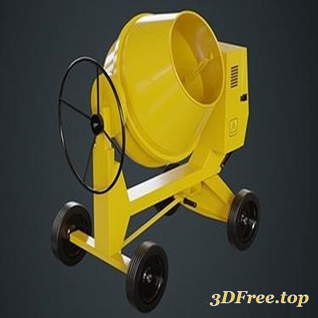 CONCRETE MIXER 1A LOW-POLY 3D MODEL