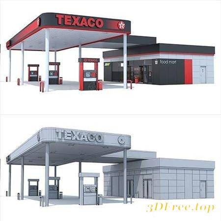 TEXACO GAS STATION 3D MODEL (3DMax)
