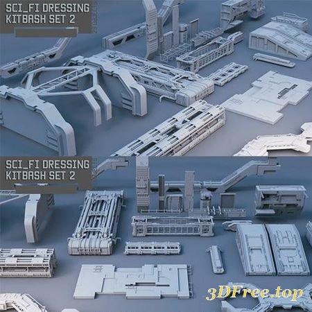 SCIFI DRESSING KITBASH SET 2 LOW-POLY 3D MODEL (3DMax)