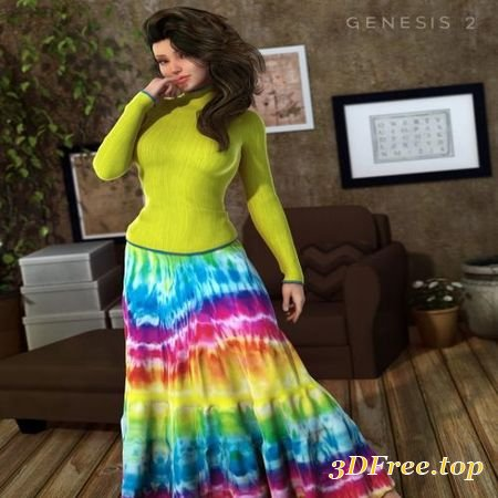 HIPPIE CHICK OUTFIT FOR GENESIS 2 FEMALE(S) (Poser)