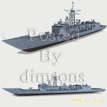 OLIVER HAZARD PERRY-CLASS FRIGATE LOW-POLY 3D MODEL (3DMax)