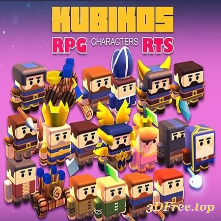 KUBIKOS - RPG - RTS 20 ANIMATED CUBE MINI UNITS LOW-POLY 3D MODEL