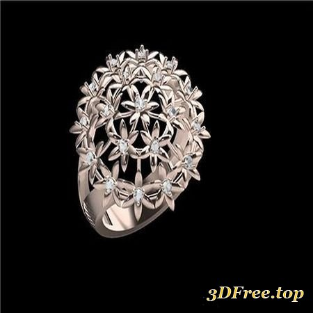 STUNNING FLOWER RING FOR LADIES SBR 1 3D PRINT MODEL