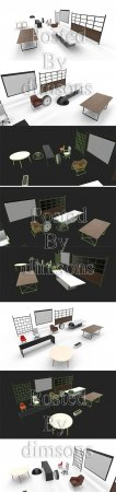 INTERIOR COLLECTION PACK LOW-POLY 3D MODEL
