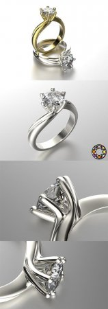 ENGAGEMENT RING WITH SET OF SIZES 0073 3D PRINT MODEL
