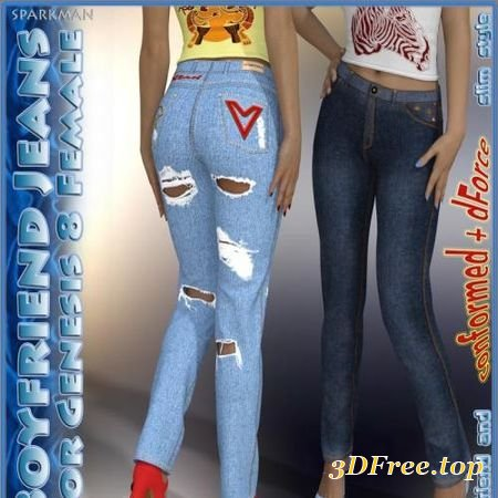 DFORCE BOYFRIEND JEANS FOR GENESIS 8 FEMALE (Poser)