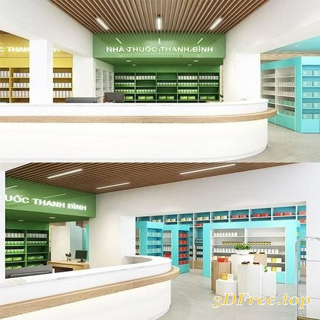 3d Models Pharmacy Interior Modern 3d Model 3dmax Download Free