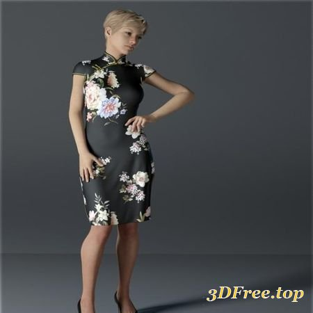 DFORCE H&C SHORT QIPAO DRESS FOR GENESIS 8 FEMALE(S) (Poser)