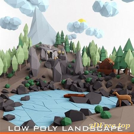 LOW POLY LANSCAPE MOUNTAIN HILL TREE LAKE AND OTHER ITEMS LOW-POLY 3D MODEL (3DMax)