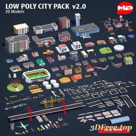LOW POLY CITY PACK 2 LOW-POLY 3D MODEL (3DMax)