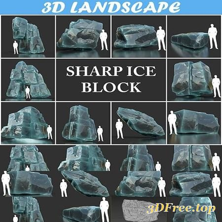 LOW POLY ICE BLOCK PACK 190302 3D MODEL COLLECTION