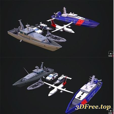 PACK OF AUSTRALIAN VEHICLE LOW-POLY 3D MODEL
