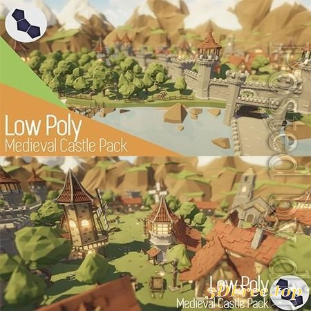 LOW POLY MEDIEVAL CASTLE PACK LOW-POLY 3D MODEL (3DMax)