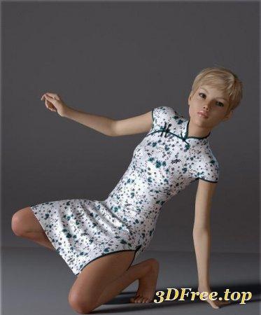 DFORCE H&C SHORT QIPAO DRESS FOR GENESIS 8 FEMALE(S) (Poser)
