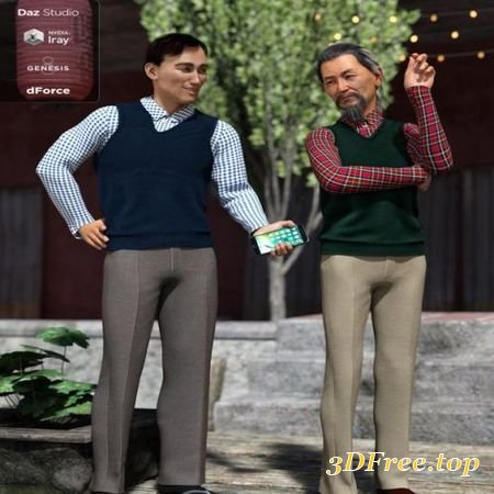 SWEATER VEST OUTFIT TEXTURES (GENESIS 8 MALE) (Poser)