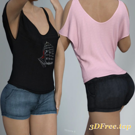 DFORCE VFASHION COLD SHOULDER SHIRT AND SHORTS FOR GENESIS 8 FEMALE(S)