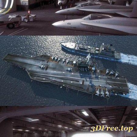 USS NIMITZ AIRCRAFT CARRIER AND USNS PATUXENT 3D MODEL