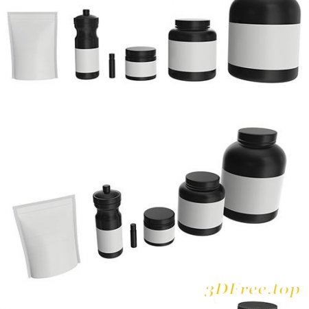 NUTRITION CONTAINER PACK FOR MOCKUP 3D MODEL COLLECTION