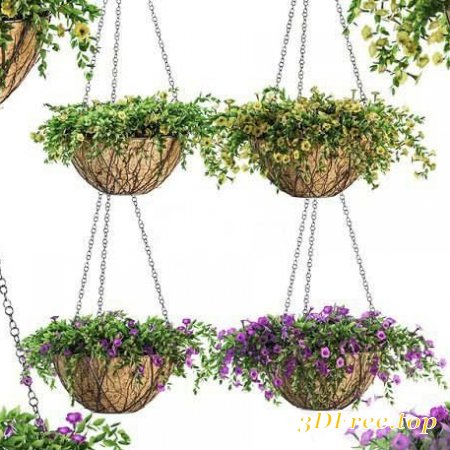 FLOWERS IN A FLOWER POT ON A CHAIN - PETUNIA - 4 MODELS