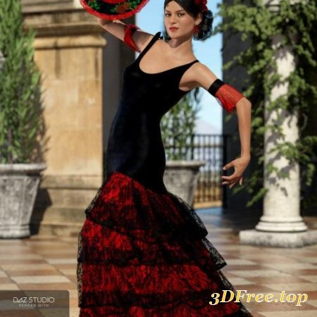 DFORCE FLAMENCO DANCER OUTFIT FOR GENESIS 8 FEMALE(S)