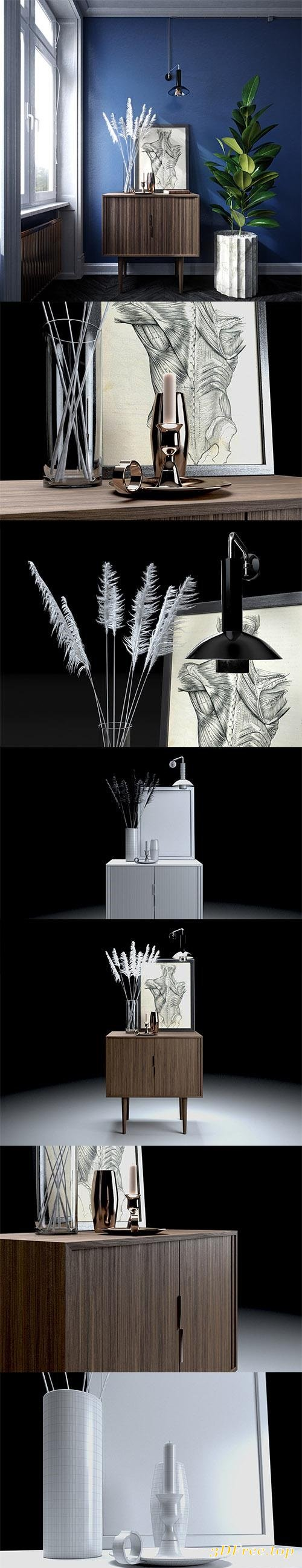 Feather Grass & Credenza Set 3D model