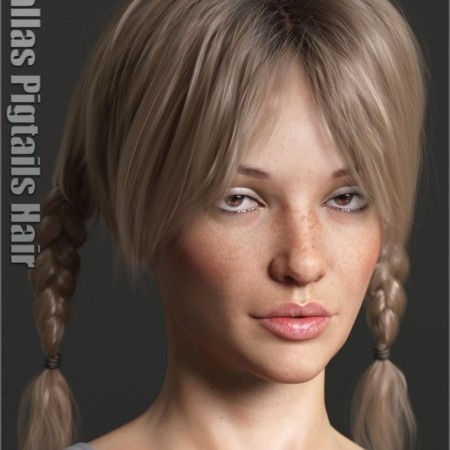 Dallas Pigtails Hair for Genesis 3 and 8 Female(s)
