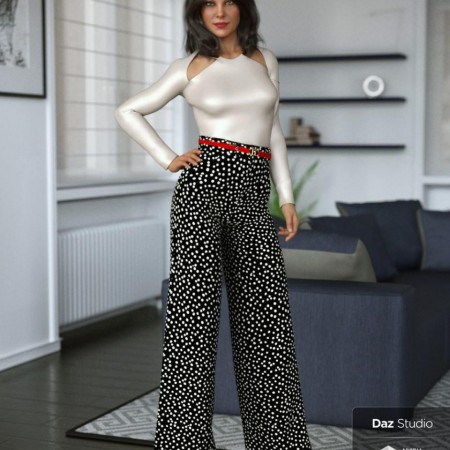 dForce Wide Leg Pants Outfit for Genesis 8 Female(s)