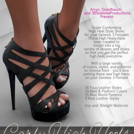 Carly High Heels for Genesis 3 Female(s)