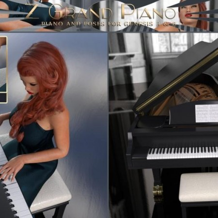 Z Grand Piano and Poses for Genesis 3 and 8