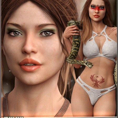 EJ Juncal Deluxe Pack for Genesis 8 Female Character Fantasykini and Expressions
