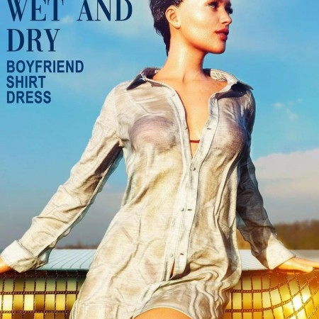 dForce Wet and Dry Boyfriend Shirt Dress for Genesis 8 Female(s)