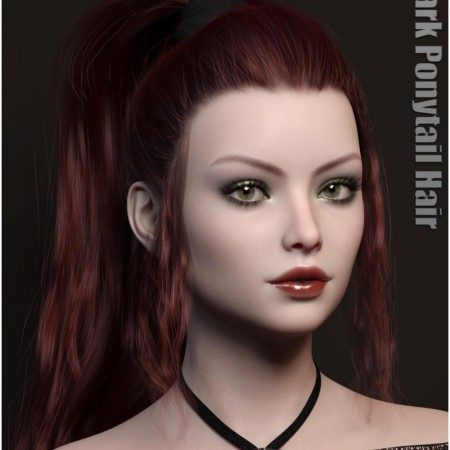 Dark Ponytail Hair for Genesis 3 and 8 Female