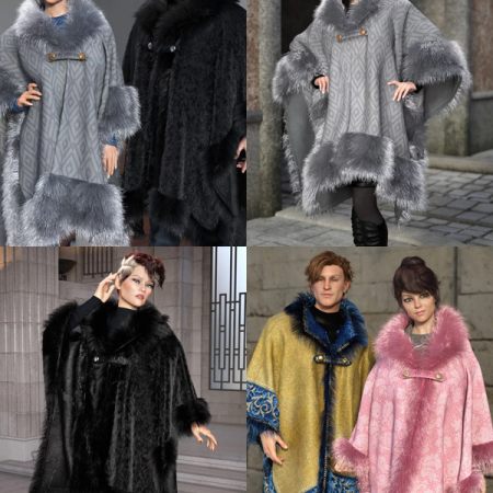 dForce Real Fur Poncho Bundle