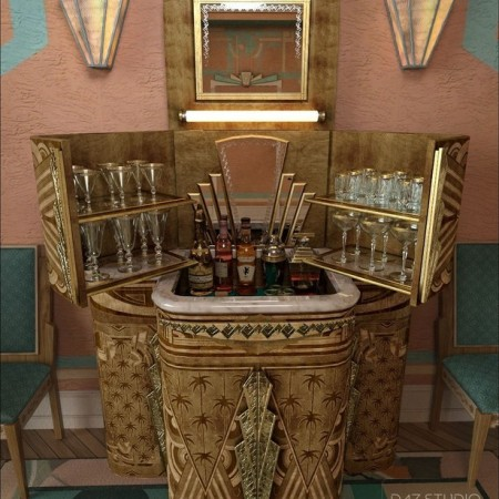 South Beach Deco Bar Cabinet