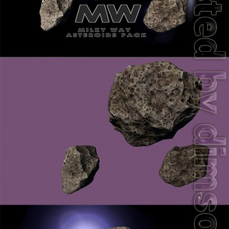 Asteroids of Andromeda Low-poly 3D model