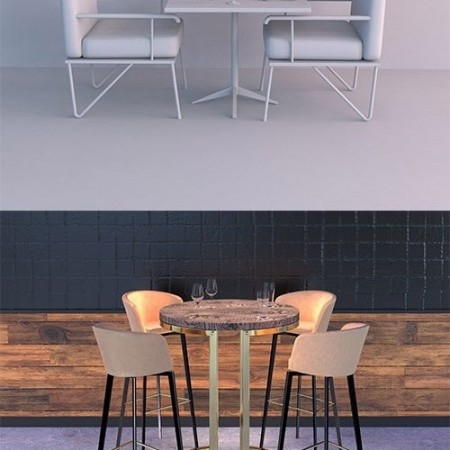 RESTAURANT TABLE SETS COLLECTION 3D model