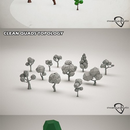 Low Poly Forest Trees Pack Low-poly 3D model