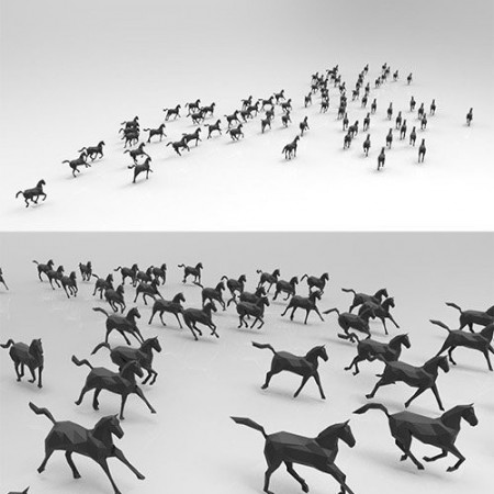 Low poly running horses - 23pcs posed Low-poly 3D model