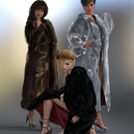 dForce Fur Coat for Genesis 8 Female