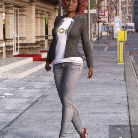Blazer and Skinny Jeans Outfit for Genesis 8 Female(s)
