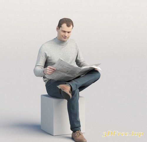 Casual man sitting and reading newspaper 3D model
