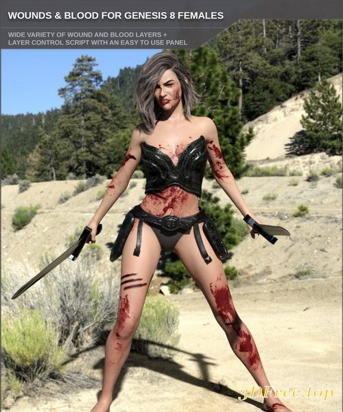 Daz3D - Wounds and Blood for Genesis 8 Female(s) and Merchant Resource