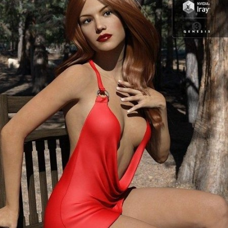 Cowl Neck Mini Dress for Genesis 3 Female(s)