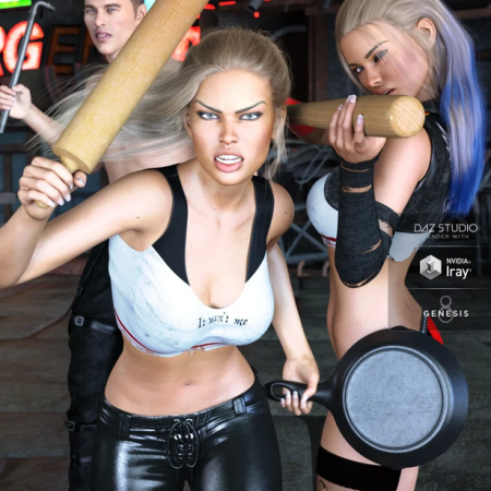 Z Unusual Weapons and Poses with Partials for Genesis 3 and 8